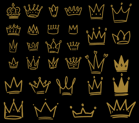 Set of hand drawn crown icons on dark background. Design element for logo, label, sign, poster, card. Vector illustration