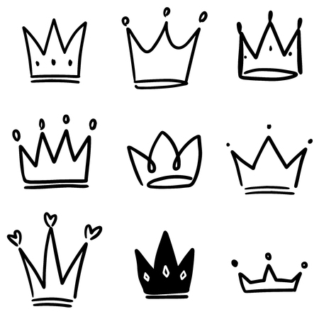 Set of crown illustrations in sketching style. Corona symbols. Tiara icons. Vector illustration Ilustração
