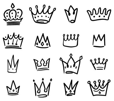 Set of crown illustrations in sketching style. Corona symbols. Tiara icons. Vector illustration Illustration
