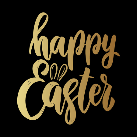 Happy easter. Lettering phrase on dark background. Design element for poster, card, banner. Vector illustration Çizim