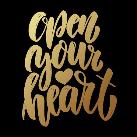 Open your heart. Lettering phrase on dark background. Design element for poster, card, banner, flyer. Vector illustration