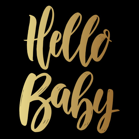 Hello baby. Lettering phrase on dark background. Design element for poster, card, banner. Vector illustration