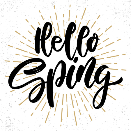 Hello spring text. Vector lettering phrase for poster, greeting card, postcard. Easter concept