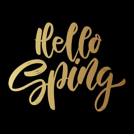 Hello spring. lettering phrase for greeting card, invitation, banner, postcard, web, poster template. Vector illustration