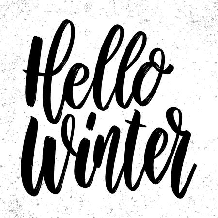 Hello winter. Lettering phrase on grunge background. Design element for poster, card, banner. Vector illustration