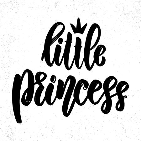 Piccola principessa. Frase scritta su sfondo chiaro. Elemento di design per poster, biglietti, striscioni, t-shirt. Illustrazione vettoriale