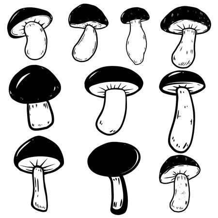 Set of mushrooms illustrations on white background. Design element for poster, emblem, sign, banner. Vector illustration