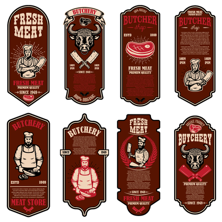 Set of meat store flyers. Design element for banner, logo, sign, poster, flyer. Vector illustration