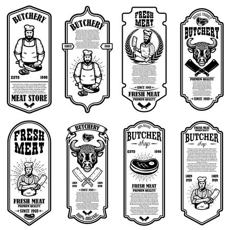 Set of meat store flyers. Design element for banner, logo, sign, poster, flyer. Vector illustration Stock Vector - 123761412