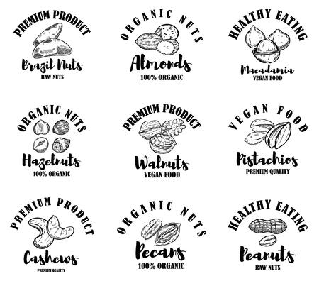 Satz rohe Nüsse-Etiketten. Gestaltungselement für Logo, Label, Zeichen. Vektor-Illustration Logo