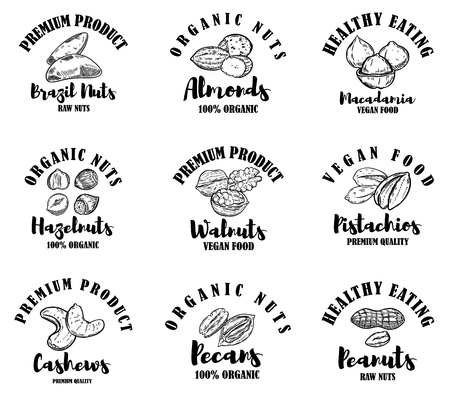 Set of raw nuts labels. Design element for logo, label, sign. Vector illustration