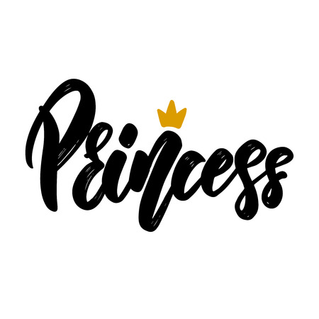 Princess text. Vector lettering phrase for poster, greeting card, postcard. Illustration