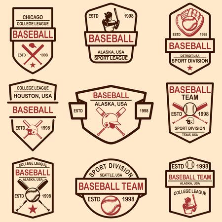 Set of baseball emblems. Design element for logo, label, sign, poster, t shirt. Vector illustration