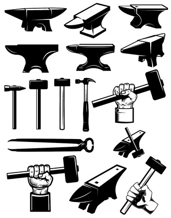 Set of blacksmith design elements. Anvil, hammers, blacksmith tools. For logo, label, sign, badge. Vector illustration