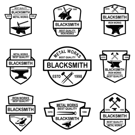 Set of blacksmith emblems. Design element for logo, label, sign, poster, t shirt. Vector illustration Ilustração