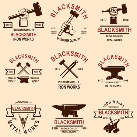 Set of blacksmith and iron works emblems. Design element for logo, label, sign, poster, t shirt. Vector illustration