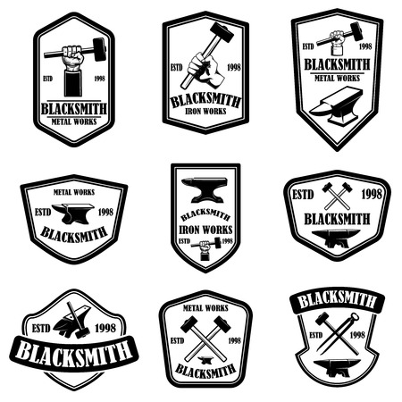 Set of blacksmith emblems. Design element for logo, label, sign, poster, t shirt. Vector illustration Vettoriali