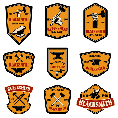 Set of blacksmith and iron works emblems. Design element for logo, label, sign, poster, t shirt. Vector illustration Standard-Bild - 123761148