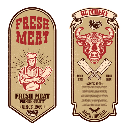 Set of meat store, butcher shop flyers. Design element for logo, label, sign, banner, poster. Vector illustration