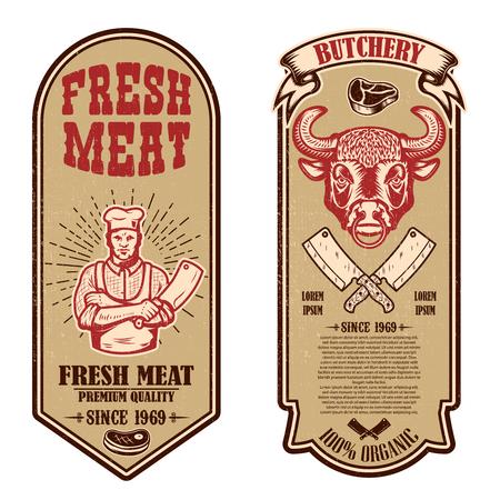 Set of meat store, butcher shop flyers. Design element for logo, label, sign, banner, poster. Vector illustration