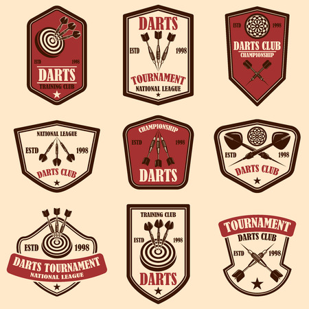 Set of darts club label templates. Design element for logo, label, sign, poster, t shirt. Vector illustration