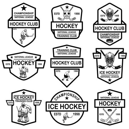 Set of hockey club emblems. Design element for logo, label, sign, t shirt, poster. Vector illustration Ilustração