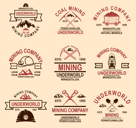 Set of coal mining company emblem templates. Design element for logo, label, emblem, sign, badge. Vector illustration Ilustração