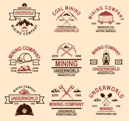 Zestaw szablonów godło firmy wydobycia węgla. Element projektu logo, etykieta, godło, znak, odznaka. Ilustracja wektorowa Logo