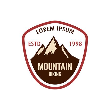 Mountain tourism emblem. Design element for logo, label, sign, poster. Vector illustration