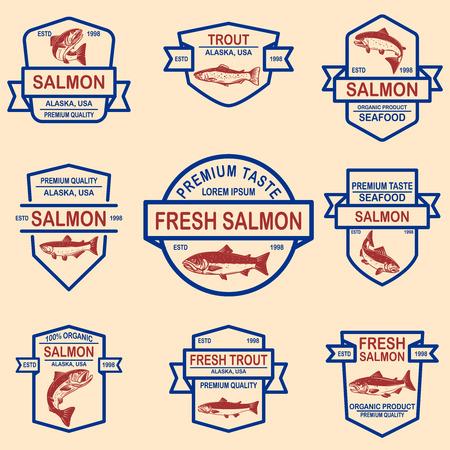 Set of salmon, trout seafood labels. Design element for logo, label, sign, poster, banner. Vector illustration Illustration