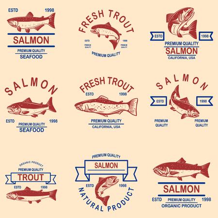 Set di etichette di pesce salmone, trota. Elemento di design per logo, etichetta, segno, poster, banner. Illustrazione vettoriale