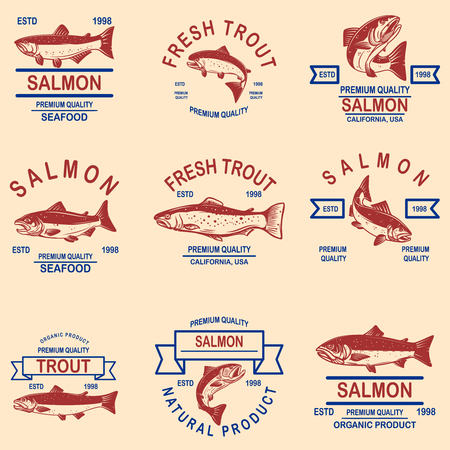 Set of salmon, trout seafood labels. Design element for logo, label, sign, poster, banner. Vector illustration Vectores