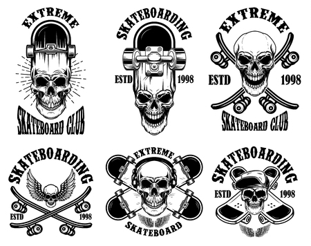 Set of skateboarding club emblems with skulls. Design element for poster, logo, sign, label, t shirt. Vector illustration