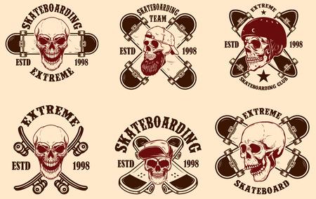 Set of skateboarding club emblems with skulls. Design element for poster, logo, sign, label, t shirt. Vector illustration