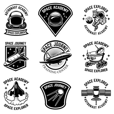 Set of space camp label templates. Design element for logo, label, sign, poster, t shirt. Vector illustration