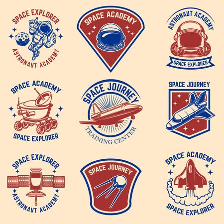 Set of space camp label templates. Design element for logo, label, sign, poster, t shirt. Vector illustration