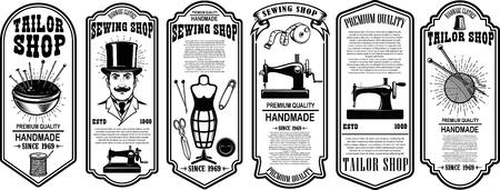 Set of sewing shop label templates. Design element for logo, label, sign, poster. Vector illustration