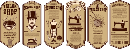 Set of sewing shop label templates. Design element for logo, label, sign, poster. Vector illustration
