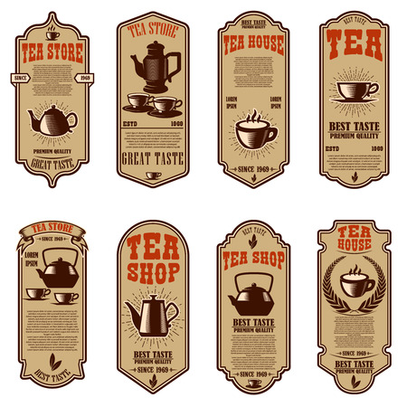 Vintage tea shop flyer templates. Design elements for logo, label, sign, badge. Vector illustration