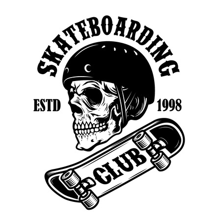 Skateboarding club. Emblem with skull in skateboard helmet. Design element for logo, label, sign, poster. Vector illustration