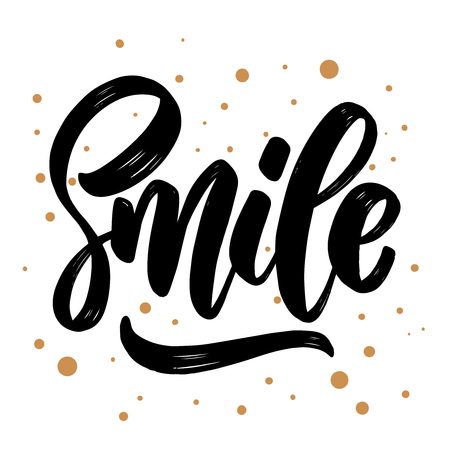 Smile. lettering phrase for greeting card, invitation, banner, postcard, web, poster template. Vector illustration 일러스트
