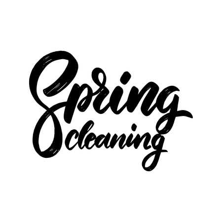 Spring cleaning. lettering phrase for invitation, banner, postcard, web, poster template. Vector illustration