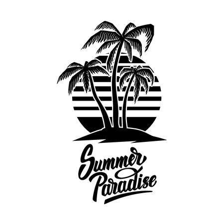 Emblema de verano con palmeras. Elemento de diseño de logotipo, etiqueta, letrero, cartel, camiseta. Ilustración vectorial Logos