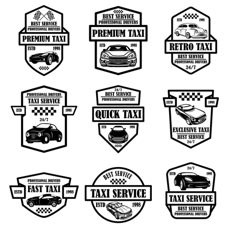 Set of taxi service emblems. Design element for poster, card, banner, logo, label. Vector illustration