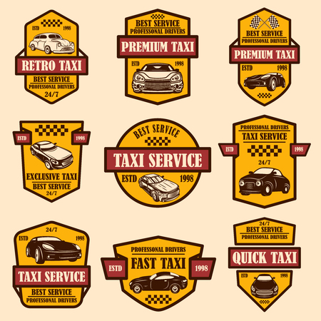 Set of taxi service emblems. Design element for logo, label, sign, poster, card. Vector illustration