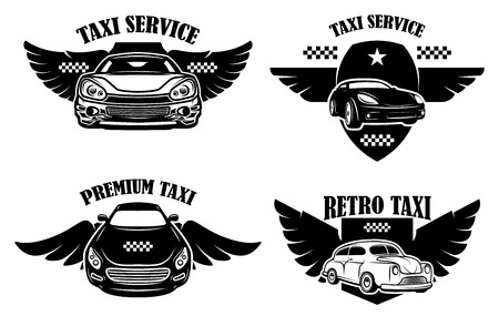 Set of taxi service emblems. Signs with winged taxi cars. Design element for logo, label, sign, poster. Vector illustration