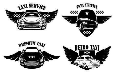 Zestaw emblematów usługi taksówkowe. Znaki ze skrzydlatymi samochodami taksówek. Element projektu logo, etykieta, znak, plakat. Ilustracja wektorowa Logo