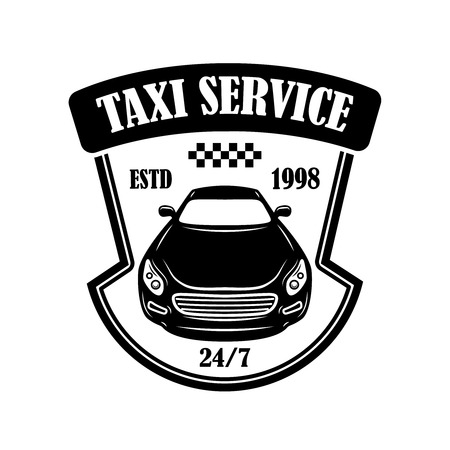 Taxi service emblem. Design element for logo, label, sign, poster. Vector illustration