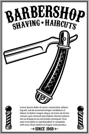 Barbershop poster template with retro style razor .Design element for poster, card, banner, emblem, sign. Vector illustration