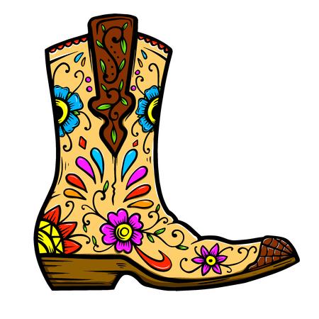 Cowboy boot with floral pattern.  Design element for poster, t shirt, emblem, sign. Archivio Fotografico - 123759481